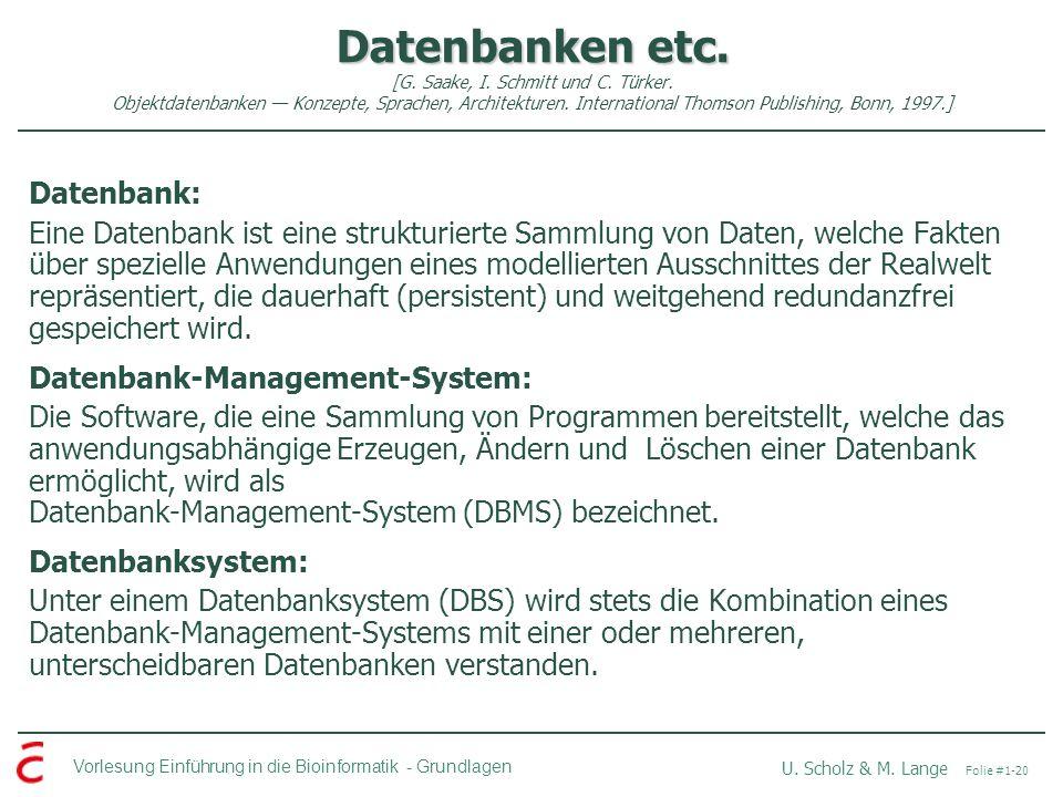 Datenbanken etc. [G. Saake, I. Schmitt und C. Türker